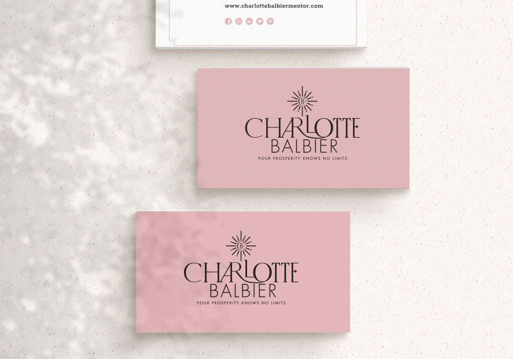 Pink business card designs for Charlotte Balbier business coach