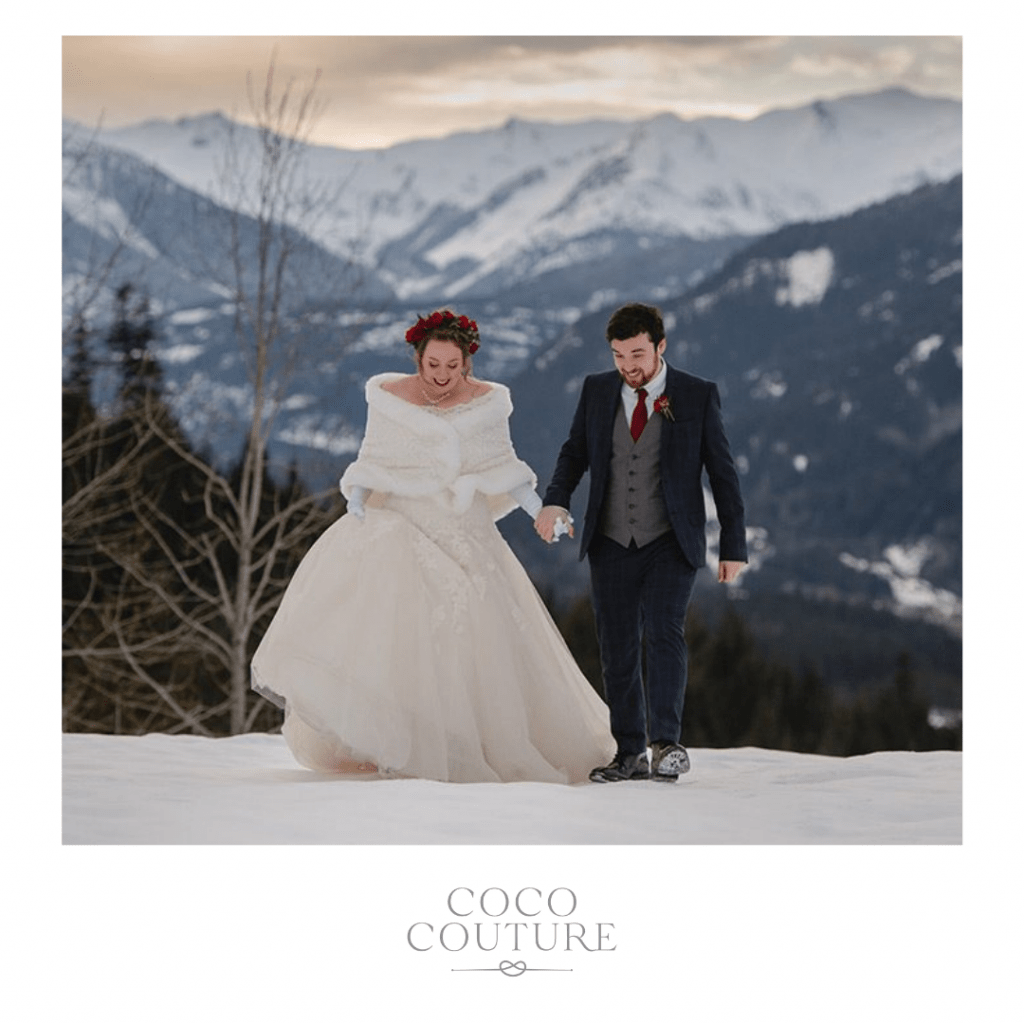 Bride and groom at a winter wedding