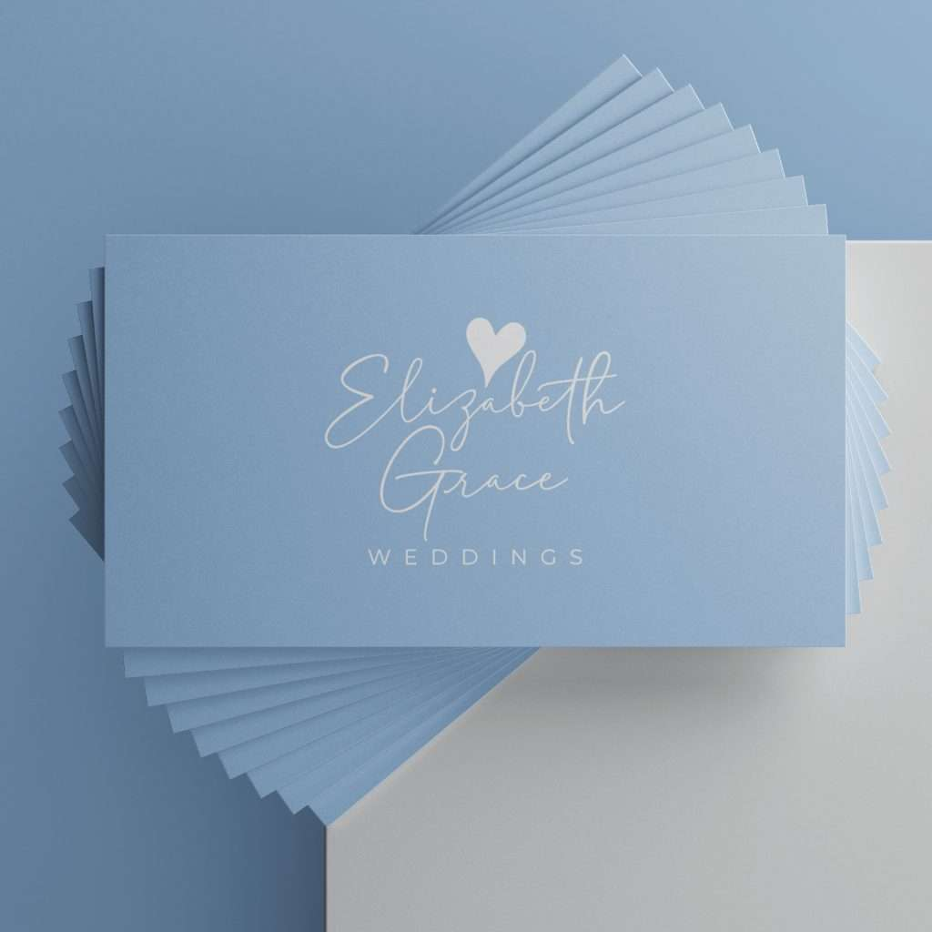 Blue and white business cards for a wedding planner