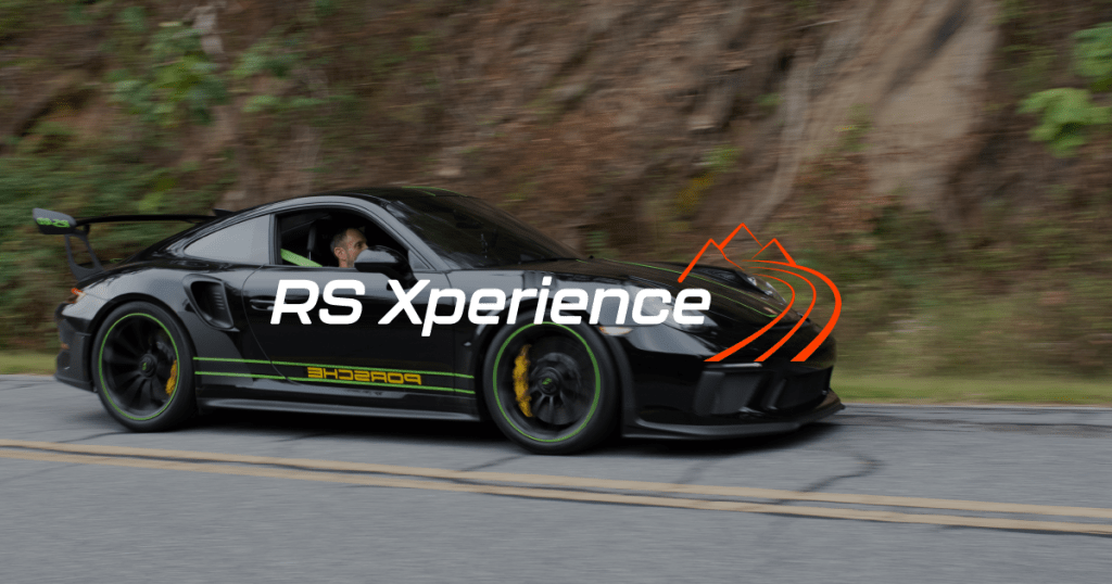 Blue and orange logo design for sports car driving experiences
